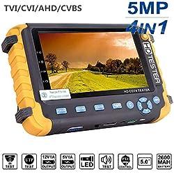 5.0MP 4 en 1 Testeur de vidéosurveillance, Testeur de Moniteur vidéo coaxial HD AHD/TVI/CVI, Test de câble vidéo/UTP analogique Entrée VGA/HDMI Testeur de caméra de Sortie DC12V