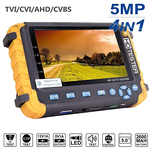 5.0MP 4 in 1 CCTV Tester, AHD/TVI/CVI Koaxial HD Video Monitor Tester, Analog Video/UTP Kabel Test VGA/HDMI Eingang DC12V Ausgang Kamera Tester Vga-kamera Video