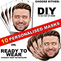 10 x Personalised Face Masks - Custom made DIY OR Ready to Wear Photo Face Masks kits for Hen, stag, birthday party