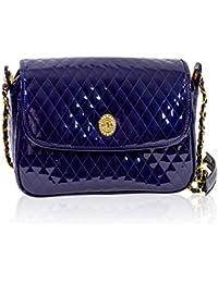 cc1ffe5b6 Valentino Orlandi Diseñador italiano acolchado Midngiht azul bolsa de  mensajero de cuero