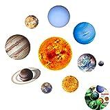 9 Planètes Autocollants Muraux Stickers, Creatiees Amovible Brillent Sticker Mural Géant Planètes du Système Solaire Fluorescent Sticker Mural pour Décorations Chambre de Bébé Enfant Salon Maison