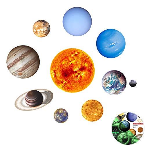 9-Planeten Sonnensystem Wandsticker, Creatiees Leuchtsticker Sonne Erde Fluoreszierend Wandaufkleber Hausdekoration Wanddekoration für Kinderzimmer Kindergarten Baby Schlafzimmer Wohnzimmer