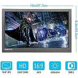 """Koolertron 15.6""""HDR Moniteur Écran IPS FHD 1920*1080 HDMI avec Haut-Parleur Fr hper coSortie Audio Jack 3.5mm pour NS PS4 PS3 XBOX PC MAC Raspberry Pi FPV Ordinateur CCTV Alimenté par DC ou Micro USB"""