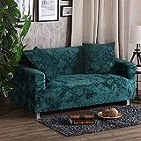 AFAHXX Dick Stretch Sofabezug für Sofa,Dekoration Gedruckt Samt Sofahusse sofaüberwurf Komplettpaket Volltonfarbe Sofa Abdeckung-grün 190-230cm(75-91in)