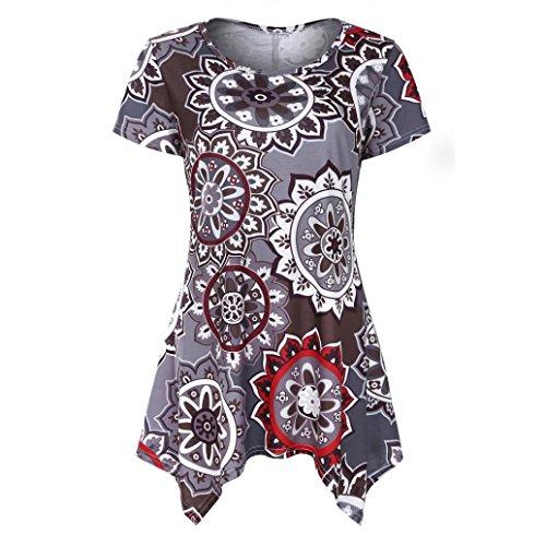TUDUZ Sommer Damen Eegant Tops Kurzarm Swing Boho Retro Tunika Blumen Flare Tee Bluse Shirt (Kaffee, L) (Satin Blume Bustier)