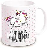"""Einhorn Tasse """"Auf dem Boden der Tatsachen liegt eindeutig zu wenig Glitzer"""" - Kaffeebecher Geschirr Geschenkidee für sie / Frau- Weihnachtsgeschenk Geschenk Geburtstagsgeschenk ausgefallen originell"""