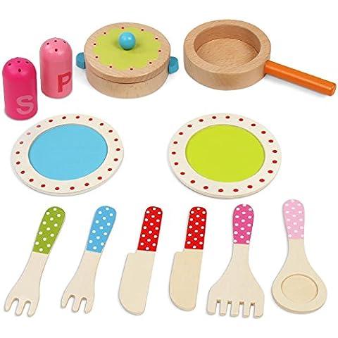 Infantastic - Juego de utensilios de cocina colorido de madera para niños - 11 piezas