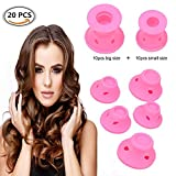 Silikon Lockenwicklern, 20 Stück Ohne Hitze Lockenwickler Rollen, Haarpflege Roller Haar Roller,DIY Curler Roller Lockenwickler, Magic Hair Styling Locken - Rosa