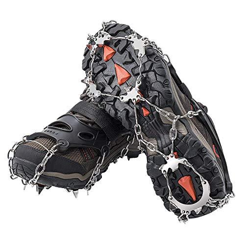 AUHIKE Crampones 18 de Dientes y Garras l Cubierta Antideslizante de Zapatos para Nieve y Hielo, con Cadena de Acero Inoxidable (S)
