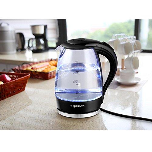 comprare on line Aigostar Adam 30GOM - Bollitore d'acqua in vetro borosilicato con illuminazione a LED. 2200W, 1.7L e Color Nero. Protezione Boil-dry. BPA FREE. Design Esclusivo. prezzo