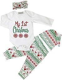 La ropa del bebé de la Navidad recién nacida fijó mi primer mameluco de la Navidad y el pantalón largo y el sombrero y la venda 4 pedazos atuendo