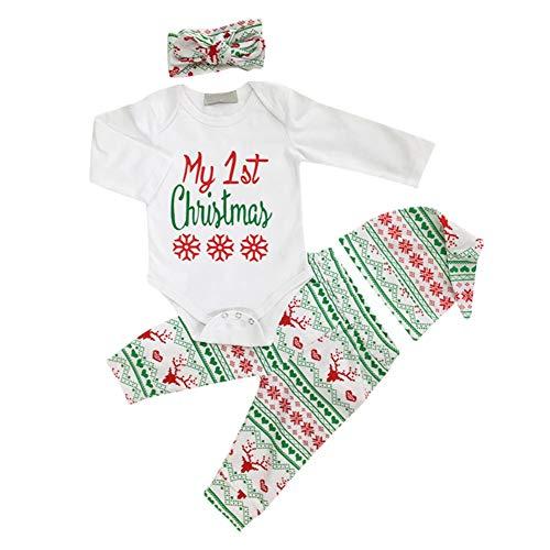 Bornbayb Weihnachtslanger Hülsenspielanzug + Hosen + Hut + Haarband Baby Kostüme für Mädchen