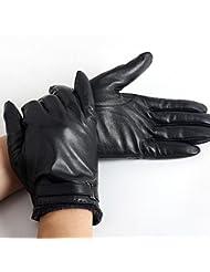 Los guantes calientes guantes y cómoda Espesantes piel de oveja guantes calientes del cuero de los hombres y de las mujeres otoño y el invierno cálido viento frío Riding llena de la motocicleta de los guantes