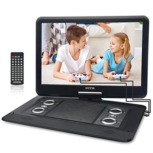 er DVD-Player mit 270° Rotation Bildschirm 1366x768 HD, 5600mAh Akku 6 Stunden, Stereoton, Regionen Frei, USB/SD/AV Out & IN (Schwarz) ()