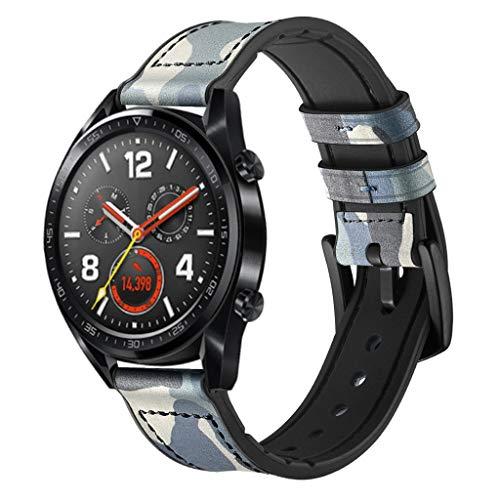 WAOTIER für Huawei Watch GT Armband Leder Armband mit Schwarzem Edelstahl Verschluss Armband für Huawei Watch GT Classic Eleganter Ersatzarmband für Frauen Männer Minimalistischer Armbandd (Weiß)