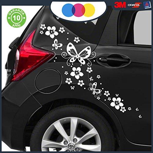 Adesivi per auto - fiori e farfalle- auto macchina - novità!! auto moto camper, stickers, decal (bianco)