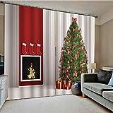 Rideaux d'occultation à impression numérique - rideaux de polyester en fond d'arbre de Noël dans le salon de la chambre à coucher ensemble 2 pièces 165 * 250cm (largeur * hauteur) couleur d'image