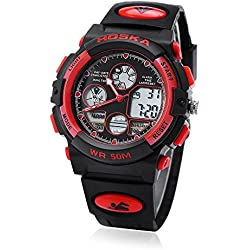 Leopard Shop HOSKA H003B Multifunctional Children Sport Watch Dual Movement Chronograph Calendar Alarm EL Backlight LED Wristwatch Water Resistance Red Black