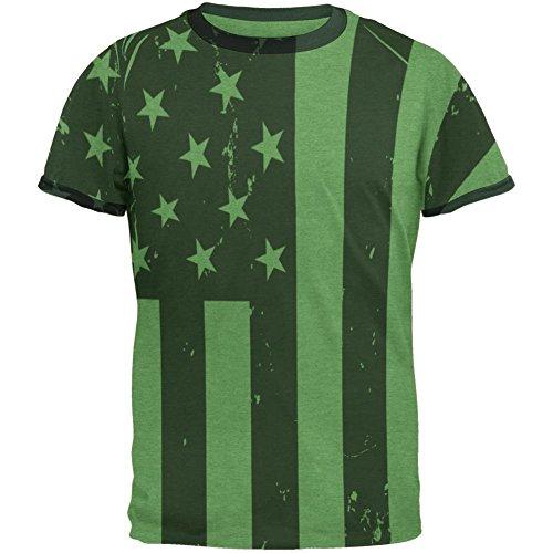 4. Juli Black And White American Flag Herren Ringer T Shirt Green