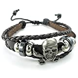 Konov Jewellery Mens Womens Leather Bracelet, Braided Gothic Pirate Skull Charm Bangle, 7-9 inch Adjustable, Brown (with Gift Bag)