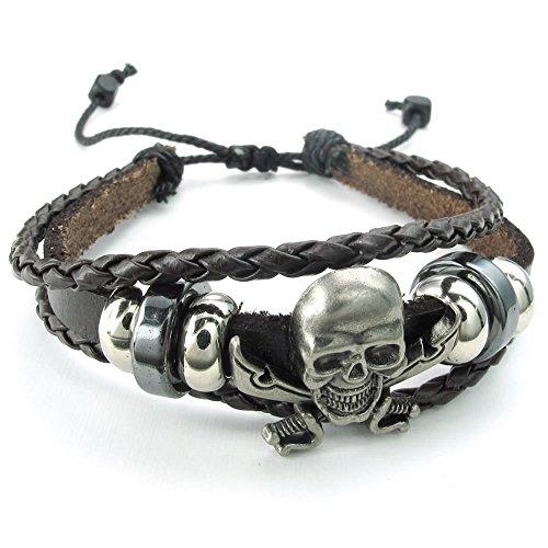 KONOV Herren Damen Leder Armband, geflochten Gothic Pirat Skull Totenkopf Charm 17,8-22,9cm verstellbar, braun