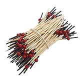 Kofun Bamboo Sticks, 100 Piezas de Palos de bambú para cóctel, agitador, Fruta, Buffet, Fiesta, vajilla Amarilla