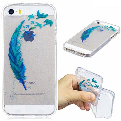 iPhone 5S / iPhone SE Hülle, Voguecase Silikon Schutzhülle / Case / Cover / Hülle / TPU Gel Skin für Apple iPhone 5 5G 5S SE(Ice Cream 03) + Gratis Universal Eingabestift Grün Gefieder 05