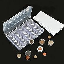 Fashionbabies 100 Stücke Münzkapseln 30mm Münze Kapseln + 100tlg. 4 Größen (18/21/25/27mm) Eva-Schaumring Kunststoff Münzenkapseln Münzdose Münzhalter mit Aufbewahrungsbox für Münze Kollektion