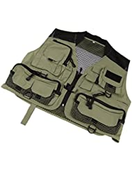 Multi-poches Gilet Veste de Maille Respirable Super Léger pour Pêche Camping
