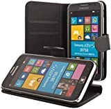 ECENCE Samsung Ativ S i8750 slim wallet case cover black + free display protection film included 31010405