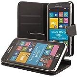 ECENCE Samsung Ativ S i8750 Coque de protection Housse Pochette wallet Case noir + protection d'écran 31010405