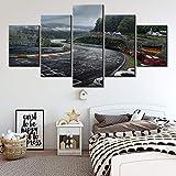 CJWLH 5 Piezas Lienzos Cuadros Impresos Wall Art Panel Nurburgring Rally Road Módulo De Decoración del Hogar Cartel para Sala