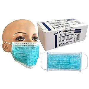 Mundschutz OP Einmal- 50 Stück Blau Gummibänder 3-lagig Mundschutzmaske Mundschutzmasken OP Maske Masken Gesichtsmaske 99,5% Filtereff. Original Tiga-Med Qualität