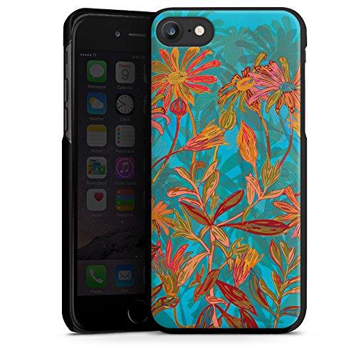 Apple iPhone X Silikon Hülle Case Schutzhülle Herbstblumen Blumen Muster Hard Case schwarz