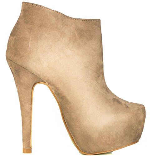 Toocool - Stivali donna scamosciati stivaletti tronchetti tacchi alti scarpe nuove AA-135 Beige