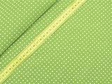0,5m Stoff Punkte klein in hellgrün/ weiß Meterware 100%