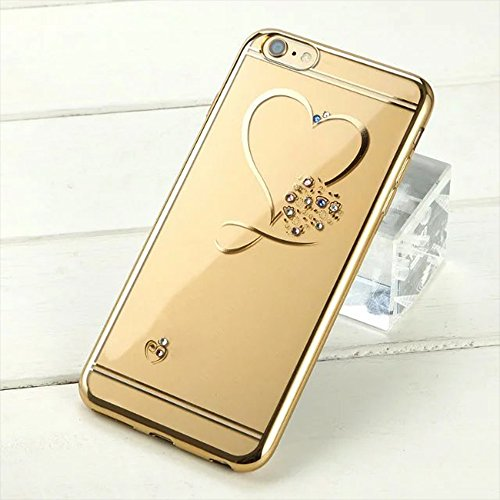 iPhone 6 / 6S Hülle , Aohro Weich TPU Silikon Transparent Schutzhülle Glitzer Strass Diamant Zurück Cover Bumper Case für Apple iPhone 6/6S (4,7 Zoll) mit Muster Herz (Rosa) Love Heart - Gold
