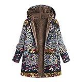 iHENGH Vorweihnachtliche Karnevalsaktion Damen Winter Warm Dicker Outwear Parka Mantel Jacke Blumendruck mit Kapuze Taschen Vintage Oversize Coats (Blau,EU-50/CN-2XL)
