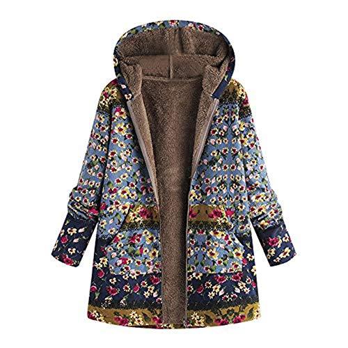 iHENGH Vorweihnachtliche Karnevalsaktion Damen Winter Warm Dicker Outwear Parka Mantel Jacke Blumendruck mit Kapuze Taschen Vintage Oversize Coats (Blau,EU-48/CN-XL)
