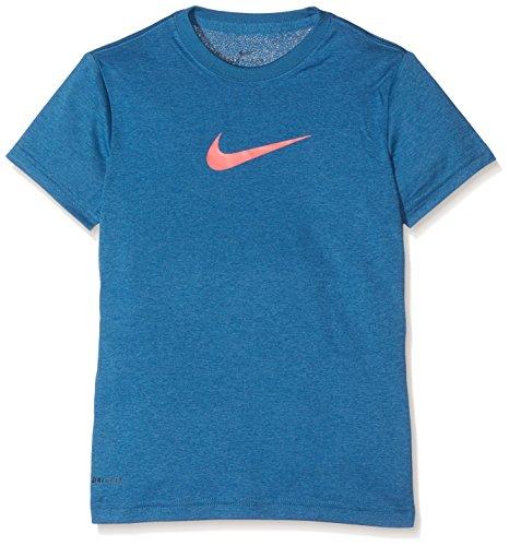 Nike Legend SS YTH Shirt, Mädchen XS Blau (Industrie-Blau / Rennfahrer-rosa)