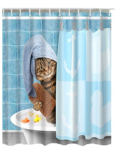 Animals Funny Kitten Cat Bathing Decor Shower Curtain Polyester Fabric Mildew Proof Waterproof Cloth Room