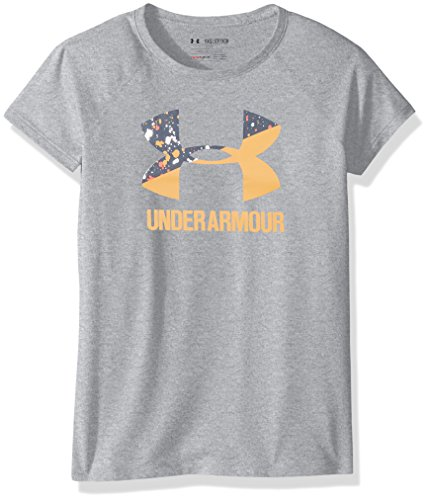 Under Armour Mädchen UA Solid Big Logo T Kurzarmhemd, Mädchen, Steel Light Heather/Orange Peel, Youth L