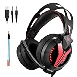 Cuffie Gaming Microfono PC PS4 ArkarTech Cuffia da Gioco Professionali Gamer Stereo LED Luce Regolabile Volume per PC (adattatore Splitter libero per PS4, portatile, Tablet e Smartphone)