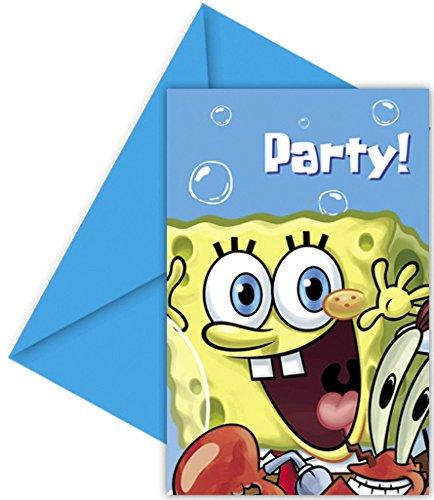 Spongebob - set 6 biglietti inviti con busta