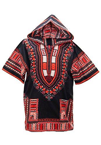 Lofbaz Unisex Dashiki Traditionelles Oberteil mit afrikanischem Druck Design #1 Schwarz und Orange