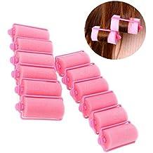 TIANOR 12 unidades flexibles Rulos para el pelo color rosa Rizador Bigudíes 63*36mm
