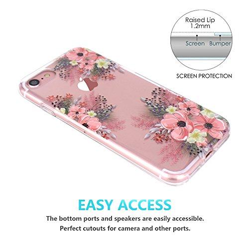 iPhone 7 Hülle, JIAXIUFEN TPU Silikon Schutz Handy Hülle Handytasche HandyHülle Etui Schale Schutzhülle Case Cover für Apple iPhone 7 / iPhone 8 - Rose Flower Flower Pink Blossom