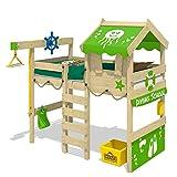 WICKEY Hochbett CrAzY Jelly Kinderbett mit Dach Spielbett 90x200 für Kinder mit Lattenboden und Hebezugsystem, apfelgrün