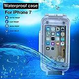 145b253feec iPhone 7/8 Funda Impermeable Blanco, 130ft/40m Profundidad Sellado Completo  A Prueba de Golpes, Nieve, Polvo, Agua Certificado IPX8 Buceo Natación Surf  ...