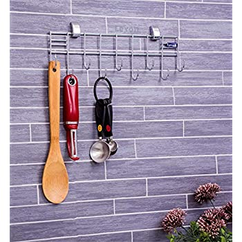 Levon Stainless Steel Laddle Hook Rail | 9 Hooks Laddle Cradle for Kitchen | Multi-Level Hook Rail